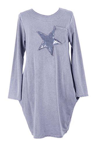 TEXTUREONLINE - Vestido - Túnica - Básico - para mujer azul claro
