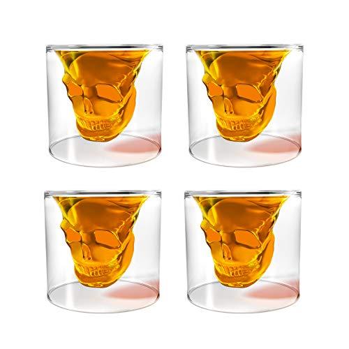 Transparent Crystal Skull Shot Glass Set (4 pcs)