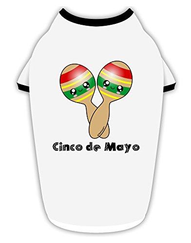 TooLoud Cute Maracas Design - Cinco de Mayo Cotton Dog Shirt White with Black Medium