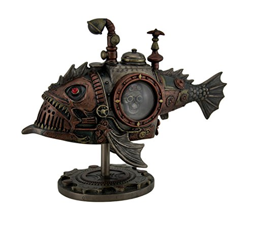 Resin Painted (Veronese Resin Statues Hand Painted Steampunk Submarine Sci-Fi Fantasy Statue 8.5 X 7 X 4 Inches Brown)
