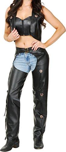 Ladies Black Faux-Leather Chaps and Vest]()