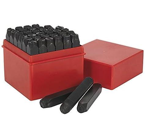GRAVUREM 101.SR5 Juegos de abecedario 27 piezas de 5 mm de acero de aleaci/ón para marcado por golpe,