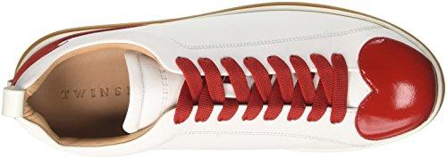 Twin Set Cs8tfn, Sneaker a Collo Basso Donna Multicolore (Bianco Ottico/Rosso)