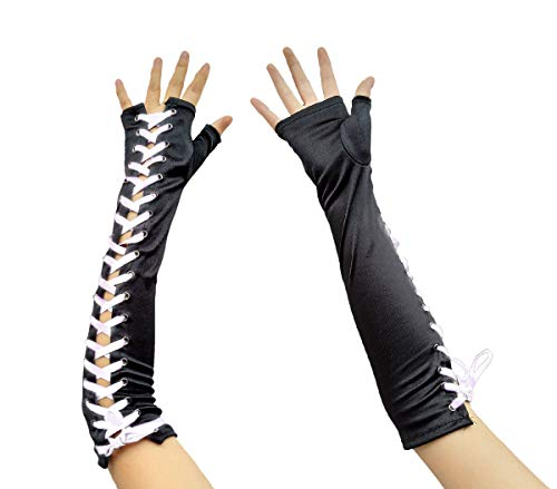 Women Long Fingerless Lace Up Gloves Banquet Evening Tea Party Bridal Wedding (A Black white)