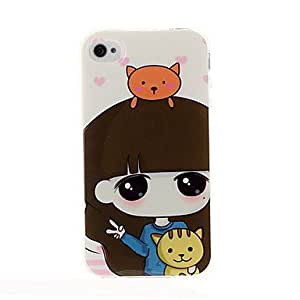 PEACH Lovely girl series TPU Soft Back Cover Case for iphone 4/4S(Pattern K)