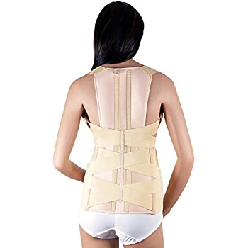 ASSISTICA® Medical Scoliosis Support Brace, Firm Posture Corrector with 2 Back Metal Splints (Small)