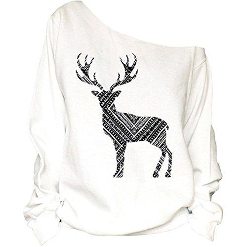 Larga Scothen Traje la suéter la de los de Mujeres de de de de Las del oscilación de la Manga Reno Navidad blanco Copos la Bambi del Retro Pared el de Reno Santa Traje suéter Nieve del Navidad de Jersey con qprwq4d