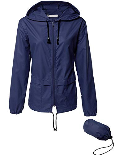 Womens' Waterproof Lightweight Raincoat Hooded Outdoor Hiking Packable Rain Jacket Outdoor Travel Trench Navy Blue S