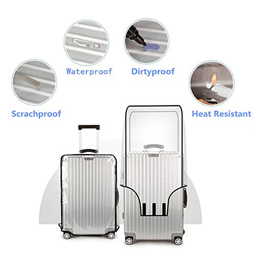 PVC Luggage Protector Cover Clear Suitcase Cover Protector Fit Most 20'' to 30'' Luggage (24inch)