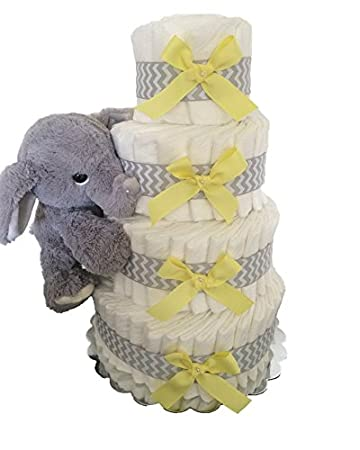 Amazon Com 4 Tier Themed Diaper Cake Elephant Elephant Diaper