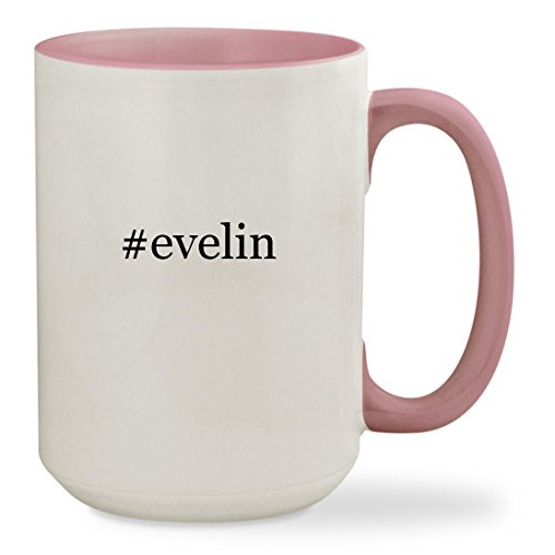 #evelin - 15oz Hashtag Colored Inside & Handle Sturdy Ceramic Coffee Cup Mug, Pink