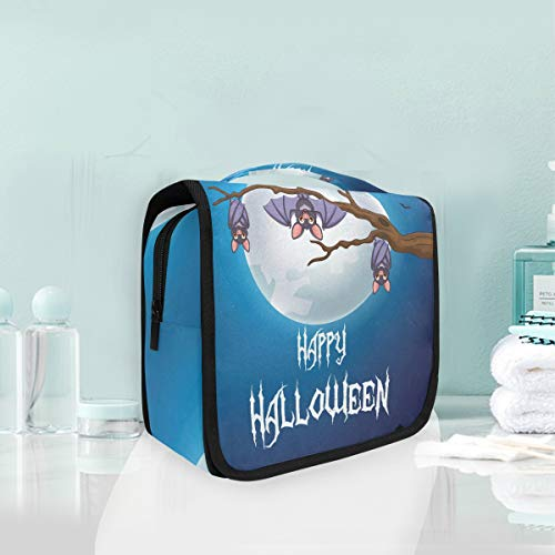(Hanging Toiletry Bag Halloween Bat Portable Cosmetic Makeup Travel Organizer for Men & Women with Sturdy)