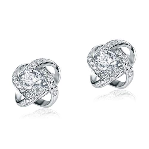 Unique 925 Sterling Silver Studs Pure Cubic Zirconia Earrings Twist Studs for womens studs gifts for girls
