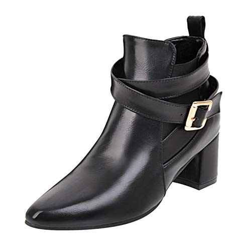 (LONGDAY ⭐ Women's Closed Toe Faux Suede with Faux Leather Buckle Strap Chunky Stacked Heel Ankle Boot Block Short Boot Black)