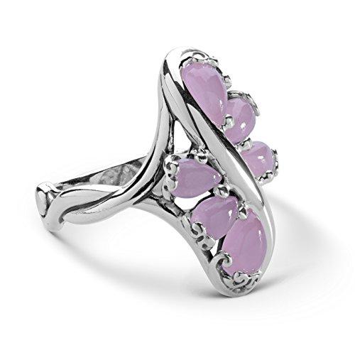 Carolyn Pollack Sterling Silver Pink Jade Gemstone Cluster Ring Size 9