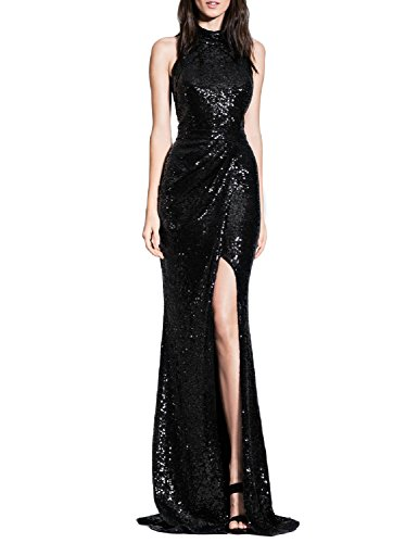 - YSMei Women's Long Sequins Halter Evening Prom Dress Backless Cocktail Party Gowns Black 8