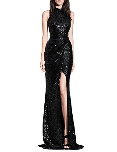 Sequins Halter Prom Formal Dress - 3