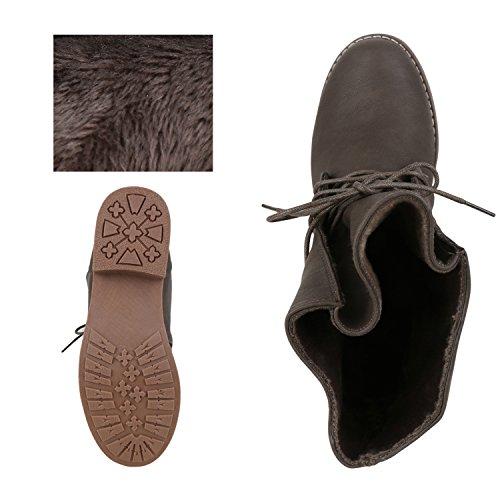 Damen Schnürstiefeletten Stiefeletten Übergrößen Denim Schuhe Prints Leder-Optik Schuhe Spitze Modische Boots Zipper Jennika Taupe Gefüttert