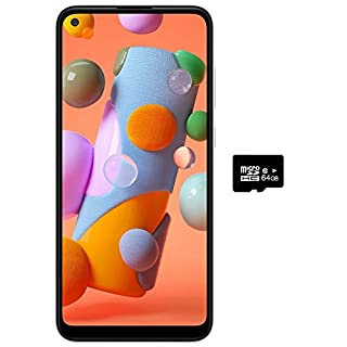 "Samsung Galaxy A11 (32GB, 2GB) 6.4"" Dual SIM GSM Unlocked, Global 4G LTE International Model (T-Mobile,AT&T,Metro,Cricket) A115M/DS (64GB SD Bundle, White)"