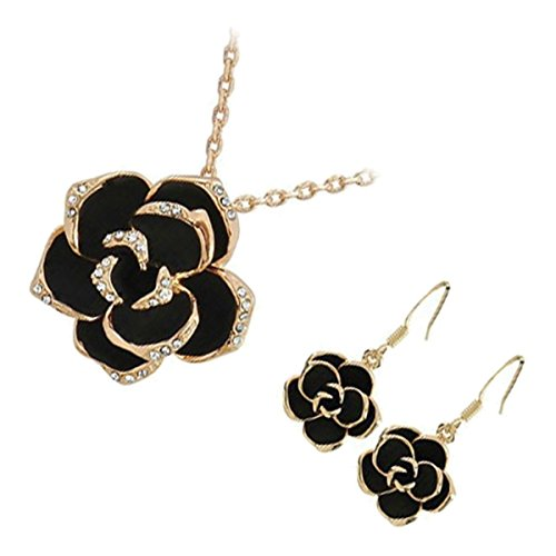 GWG 18K Rose Gold Plated Jewellery Set of Pendant Necklace and Earrings Rosebud Flower with Black Leaves Graced with Diamond Clear Crystals for - Rosa Gold Leaf Crystal