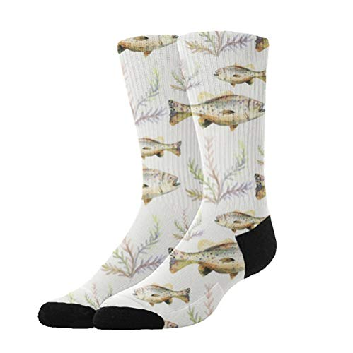 KYWYN Novelty Fashion Watercolor Bass Fish 3D Printed Athletic Socks Extra Long Socks Knee High Socks for Men Women Boys Girls Outdoor Activities -