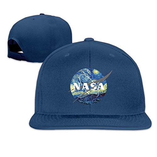 (NeedLove NASA Logo Van Gogh Flat Bill Snapback Adjustable B-boy Cap Navy)