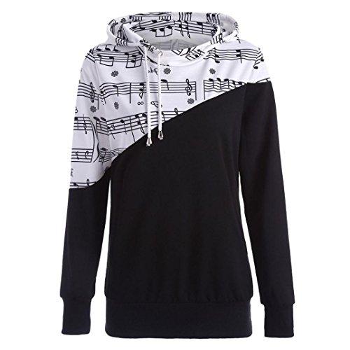 Hoodie Sweatshirt Musical Notes Print Women Pullover Ombre Kangaroo Hoodie Stitching Printing Hooded SPE969 (Hoodie Sweatshirt Jumper)