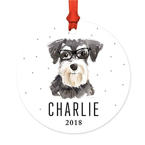 Andaz Press Personalized Preppy Dog Art Round Metal Christmas Ornament, Miniature Schnauzer in Black Glasses 2019, 1-Pack, Custom Birthday Present Ideas for Him Her Dog Lover, Incl Ribbon, Gift Bag