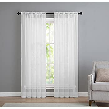 2 Pack Basic Rod Pocket Sheer Voile Window Curtain Panels in White by GoodGram ( & Amazon.com: Warm Home Designs Pair of 2 Standard Size 54