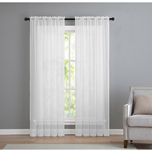 2 Pack: Basic Rod Pocket Sheer Voile Window Curtain Panels in White by GoodGram (84 in. Long) (Sheers Long)