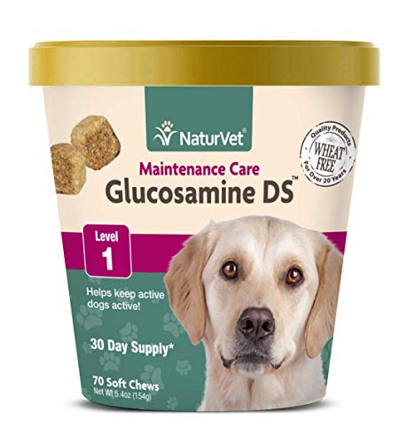 NaturVet - Glucosamine DS - Level 1 Maintenance Care - Preventative Care to Maintain Healthy Cartilage & Joint Function - Enhanced with Glucosamine & Chondroitin - for Dogs & Cats - 70 Soft Chews