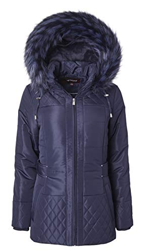 Women Midlength Down Alternative Quilt Winter Puffer Coat Zip Off Fur Trim Hood - Stormy Night (Medium)