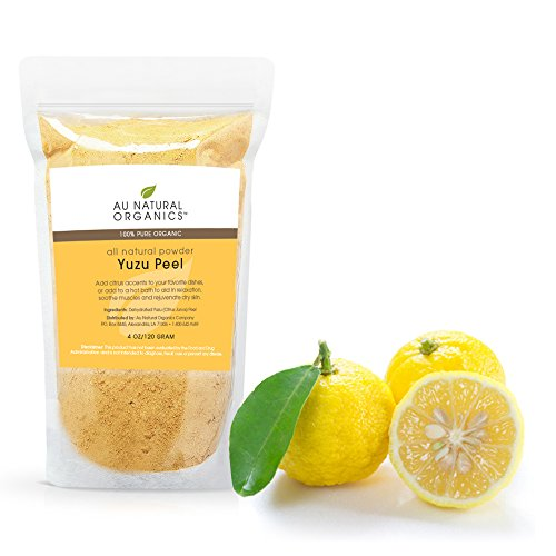Yuzu Citrus Peel Powder by Au Natural Organics|Relaxing Japanese Lemon Bath Powder Salts|Soothing Dry Skin Powdered Soak Treatment|Luxurious Muscle Relaxer|Organic Sauce Spice for Asian Cuisine|120g
