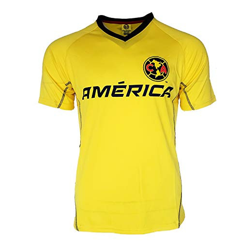 Icon Sport Club America Soccer Jersey Mexico FMF Adult Training Custom Name and Number (Yellow T1A11, L)