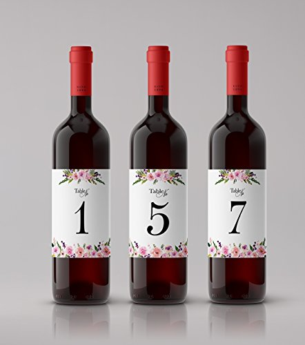 ● Wedding Table Numbers ● You PICK! from SETs of 10 / 12 / 15 / 18 / 21 / 24 etc. ● Wedding Wine Table Numbers ● Wedding Wine Bottle Labels, 100% WEATHERPROOF, Wedding Decorations A140-WT12 -