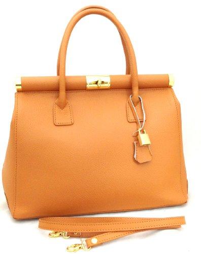 Moutarde in femme en poignées Bag et Beige Italy Satchel CTM élégante cuir bandoulière Made véritable avec 35x28x16cm CSqaatv