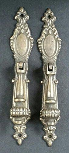 Ornate Drop Pull - 2 Lg.Ornate Vertical Teardrop Brass Handle Drawer Pulls 5 7/8