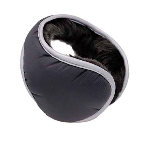 Iuway Unisex Plush Lined Foldable Sport Winter Warm Earmuffs Waterproof (Black) (Muffs Warm Plush Ear)