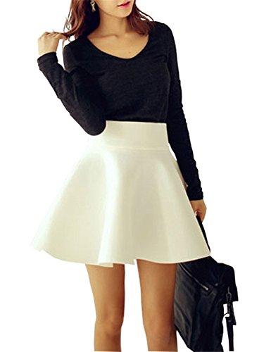 Minetom Femme t Rtro Taille Haute Une ligne Court Jupe Basique Plisse Patineuse Fille Couleur Solide Elastique Mini Swing Skirt Blanc
