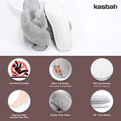 KASBAH 2 Pack Women's Cozy Memory Foam Slippers Fuzzy House Slippers Soft Lightweight Cross Band Slippers Open Toe House Shoes for Indoor/Outdoor Use, Grey+Pink, M