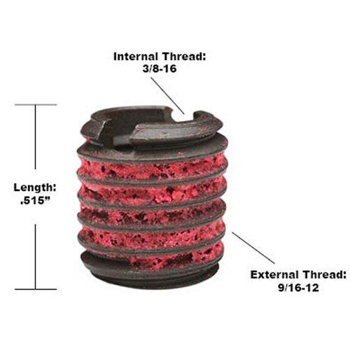 Steel Black Oxide 3//8-16 Installation Kit E-Z LOK EZ-329-6 Threaded Inserts for Metal