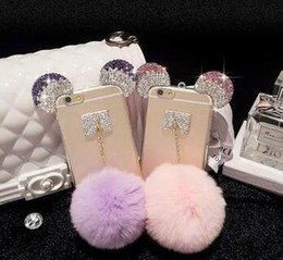 Star Wars Costumes Nyc (Iphone 6 6s rhinestone micky ears rabbit Purple lavender Pink fur ball iphone case)
