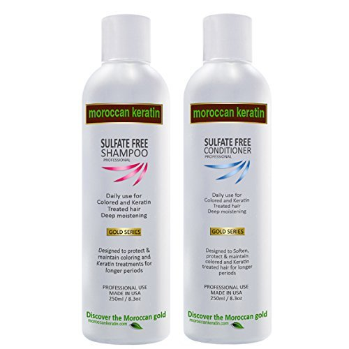 Moroccan Keratin Sulfate Free Shampoo & Conditioner Set Infused with Moroccan Argan (Keratin Infused Moisture Shampoo)