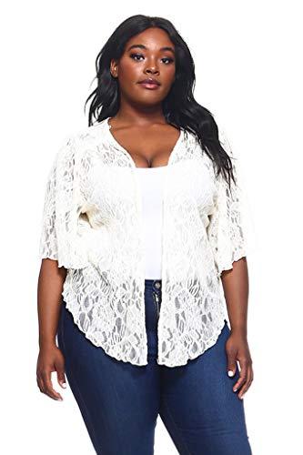 Women's Ivory White Plus Size Cascading Soft Lace Bolero Cardigan Shrug Top (1X) ()