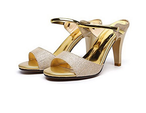 Amoonyfashion Womens Pull-on Open-teen Hoge Hakken Blend Materialen Solide Sandalen Goud