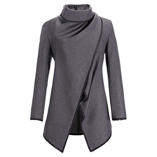 de irregular lana Abrigo cálido de Color cuello de Grey cazadora Invierno M de invierno de ZFFde dobladillo larga tamaño de manga 1pxIS8wBCq