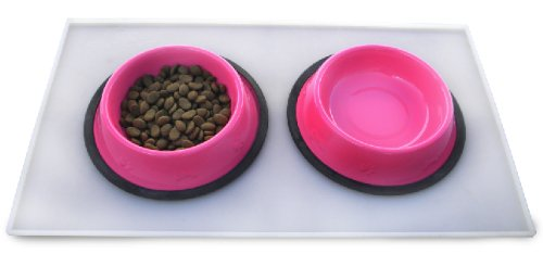 Platinum Pets Food and Water Clear Heavy-Duty Feeding Mat (21″ x 12″ x 1/4″), My Pet Supplies