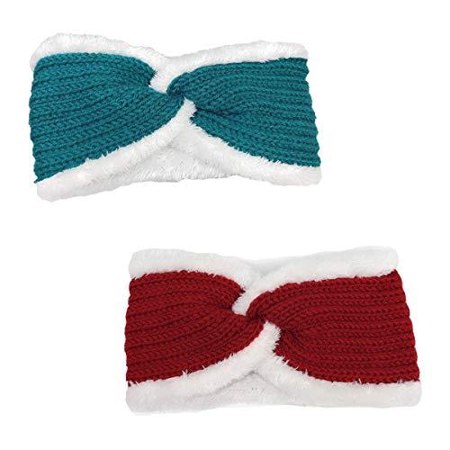 Fuzzy Fleece Lined Thick Knit Headbands Braided Winter Pearl Headbands Ear Warmers Crochet Head Wraps