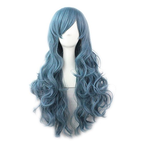 TINYUNICORN Long Wave Grey blue Wigs for women Heat Resistant Hair Wig Material (King Neptune Wig)