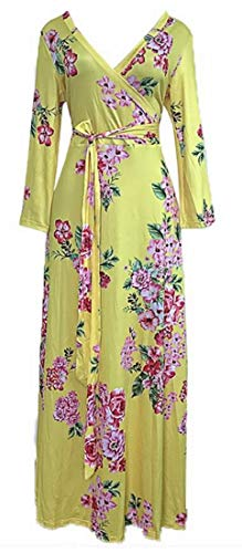 Domple Dress Yellow Print Bodycon Sleeve Neck Wrap Maxi Women's V Floral Belted Long r7wrqZ